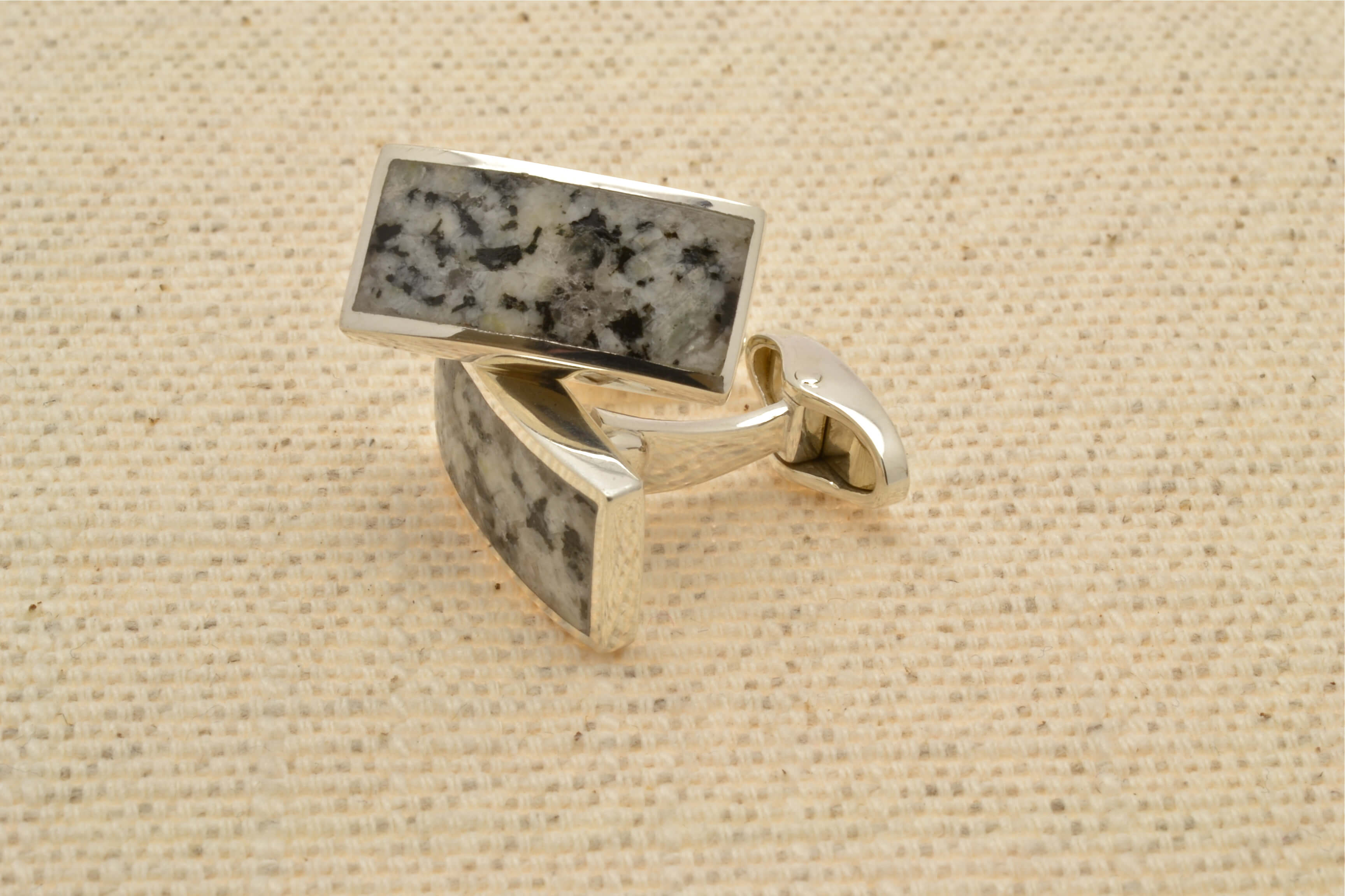 silver and granite cufflinks