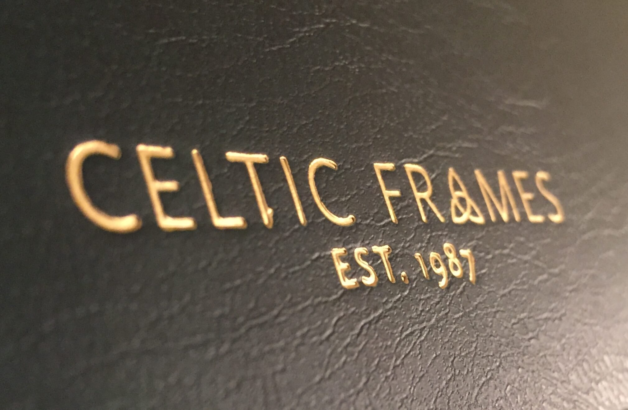 celtic frames logo on leather
